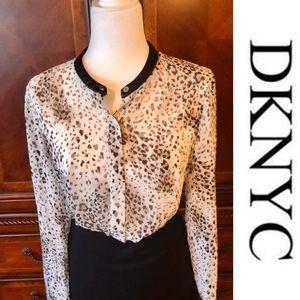 NWOT-DKNYC sheer animal print mixed media blouse